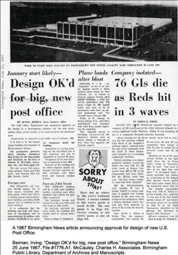 A 1967 Birmingham News article announcing approval for design of new U.S. Post Office.File#1776.A1