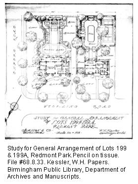 Study for General Arrangement of Lots 199 & 199A, Redmont Park. Pencil on tissue. File #68.8.33. Kessler, W.H. Papers. Birmingham Public Library, Department of Archives and Manuscripts.