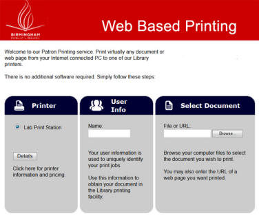 Web Based Printing Screenshot